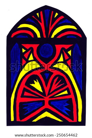 Image of a multicolored stained glass  - stock photo