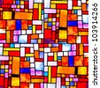 Image of a multicolored stained glass window with irregular random block pattern, square format - stock photo