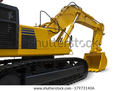 Image of a new excavator with yellow color, isolated on white background - stock photo