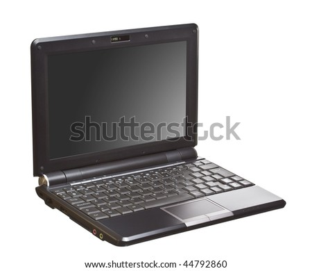 image of a new small netbook isolated over a white background