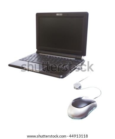 image of a new small netbook isolated over a white background - stock photo