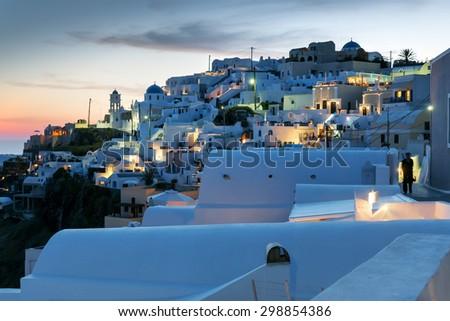 Image of a night scene on island Santorini Greece - stock photo