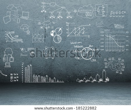 image of a painted on the wall charts, symbols and diagrams - stock photo