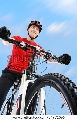 image of a  portrait of a cyclist. - stock photo