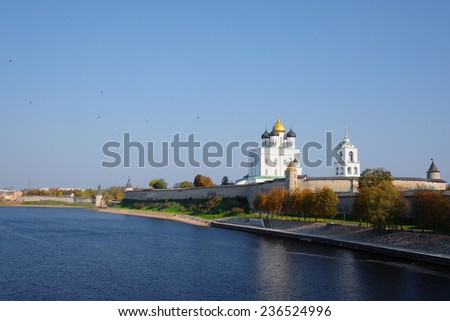 image of a Pskov Kremlin and the Trinity orthodox cathedral, Russia - stock photo