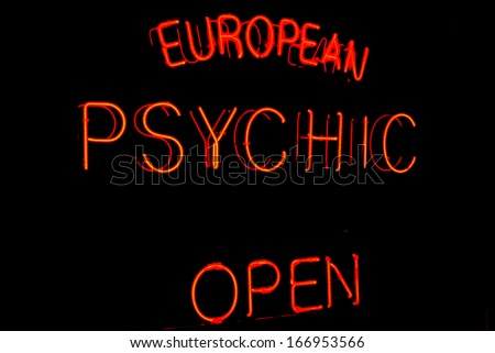 Image of a Psychic sign with neon on Black