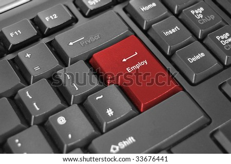 image of a red enter key with the word employ