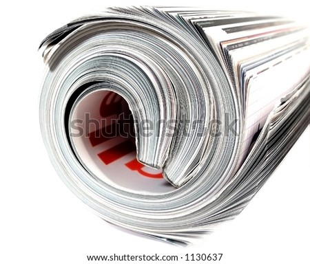 image of a rolled up magazine - stock photo