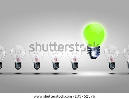 Image of a row of electric bulb with one different from the others