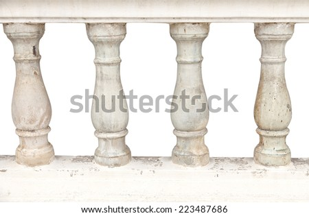 Image of a row of white bannister pillars made of stone.  - stock photo