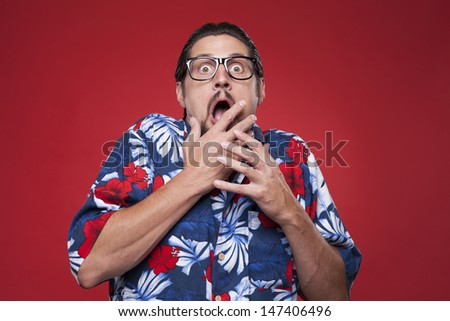 Image of a scared young man   - stock photo