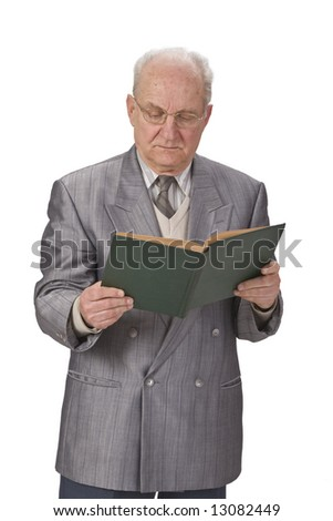 Image of a senior man reading a book against a white background. - stock photo