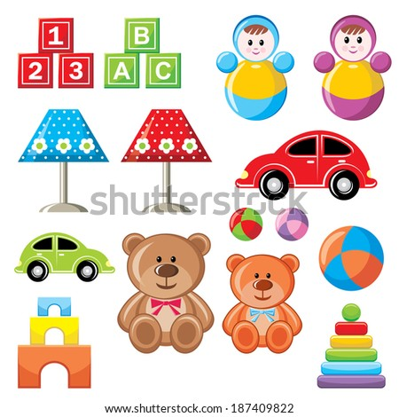 Image of a set of children's toys. Raster illustration.