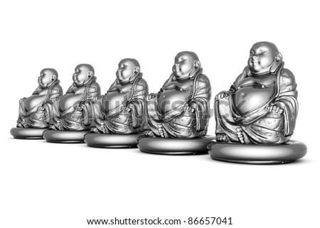 image of a silver statue of Buddha and a lotus flower - stock photo