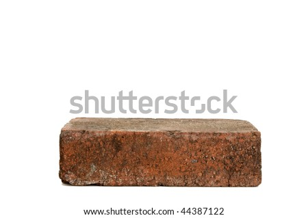 Image of a single red brick on white background - stock photo