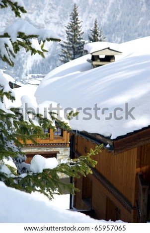 Image of a ski resort under a layer of snow - stock photo