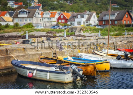 Image of a small quaint fishing village on the west coast of Sweden. Molle, Skane.  - stock photo