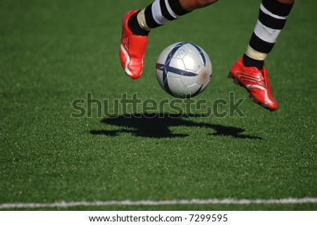 Image of a soccer player touching the ball