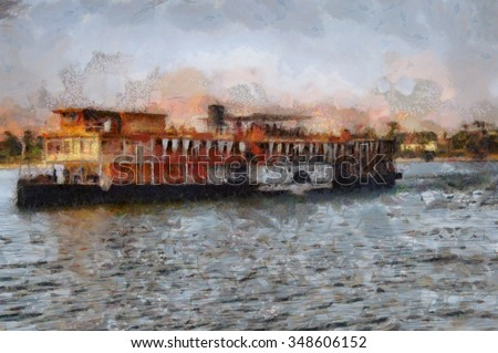 Image of a steamboat on the Nile in Egypt.  - stock photo