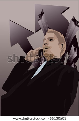 Image of a successful businessman talks on the phone to his client - stock photo