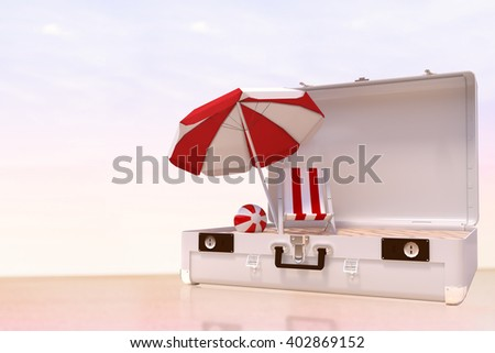 Image of a suitcase against water edge at the beach