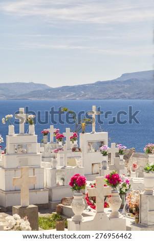 Image of a traditional greek orthodox cemetary. Sitia, Crete.  - stock photo