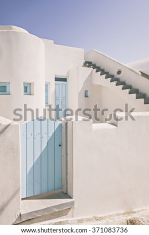 Image of a traditional white-washed home. Santorini, Greece.  - stock photo