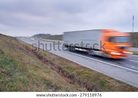 image of a truck in movement - stock photo