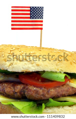 Image of a typical hamburger detail with American flag - stock photo