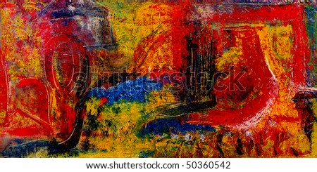 Image of a Very large scale mixed media painting On Canvas - stock photo
