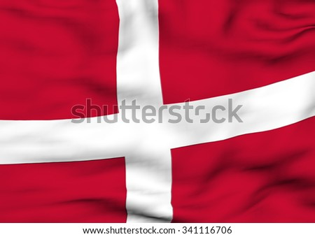 Image of a waving flag of Denmark - stock photo