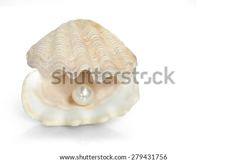 Image of a white pearl ball in a Open oyster shell isolated on white. This has clipping path. - stock photo