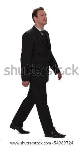 Image of a young businessman walking, isolated against a white background. - stock photo