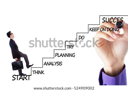 Image of a young businessman walking upward on the stairs with strategy plan to success, isolated on white background