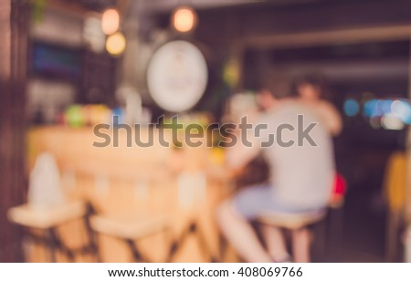 Image of Abstract blurred Retro coffee bar for background usage . (vintage tone) - stock photo