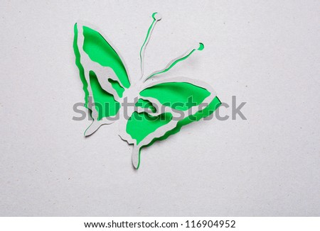 Image of abstract green butterfly handmade.Eco background.