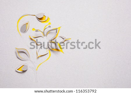 Image of abstract yellow flower handmade.Eco background.