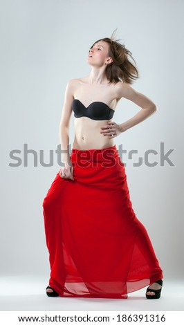 Image of active young model posing in lingerie - stock photo