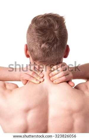 Image of adult sporty man massaging his neck in pain