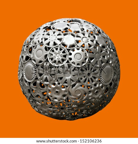 image of advertising ball made of automobile hubcaps over monochromatic background - stock photo