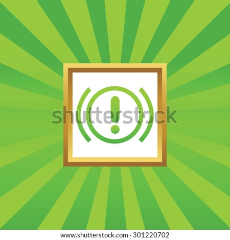 Image of alert sign in golden frame, on green abstract background - stock photo