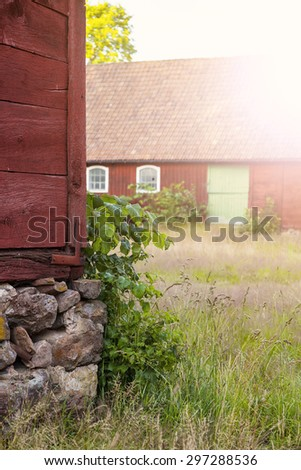 Image of an abandoned farm. Skane, Sweden.  - stock photo