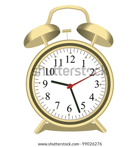 Image of an alarm clock isolated on a white background. - stock photo