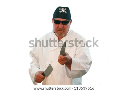 Image of an angry chef or cook wielding a butcher knife and a cleaver, isolated against white. - stock photo