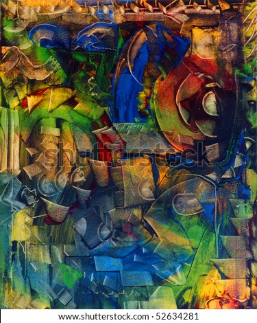 Image of an Interesting Abstract painting On Canvas - stock photo