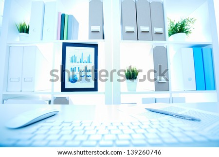 Image of an office workplace with different objects