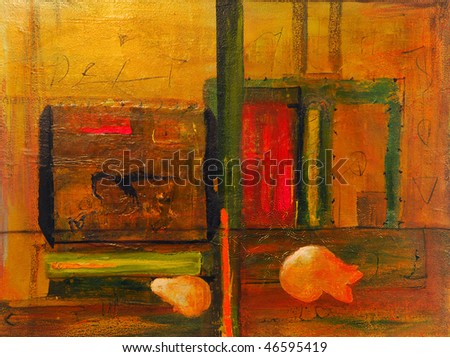Image of An Original  painting on Canvas, Mixed media - stock photo