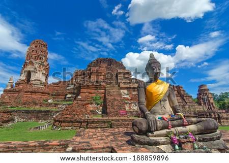 image of ancient Buddha statue at Ayuttha Historical Park, Thail - stock photo