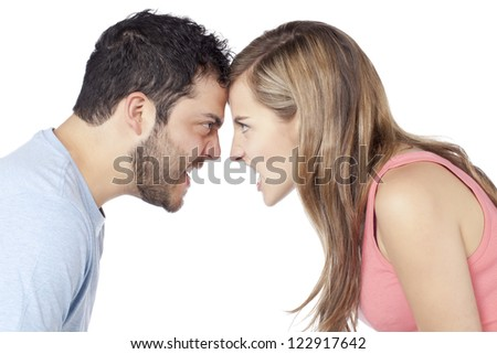 Image of angry couple yelling to each other against white background - stock photo