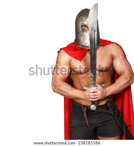 Image of armored knight with his weapon - stock photo